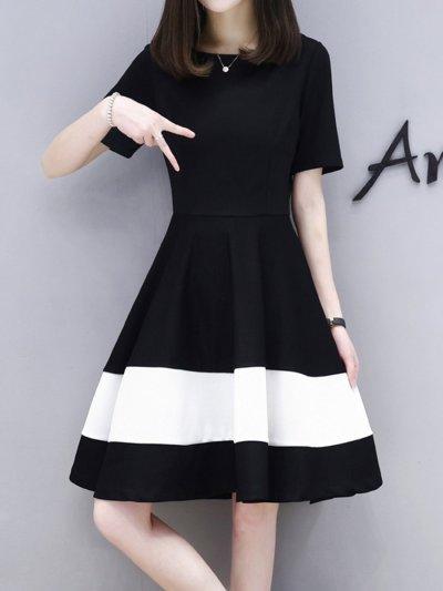 Round Neck  Color Block Skater Dress