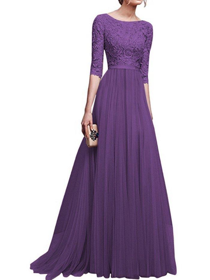 Round Neck Patchwork Plain Evening Dress