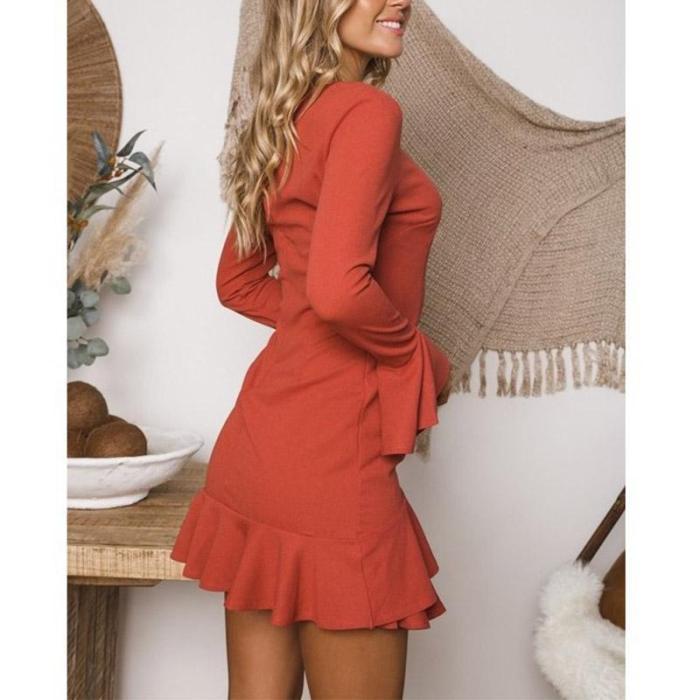 Elegant Round Neck Ruffles Casual Dress