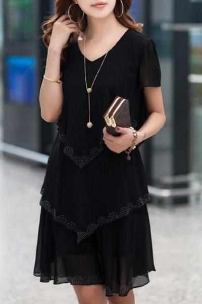 Multi-Layers Rhinestone Designed V Neck Chiffon Shift Dress
