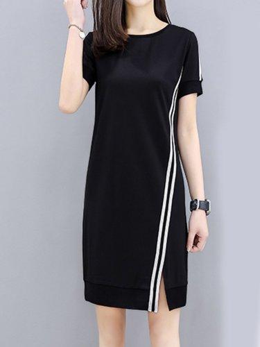 Round Neck  Side Slit  Color Block Shift Dress