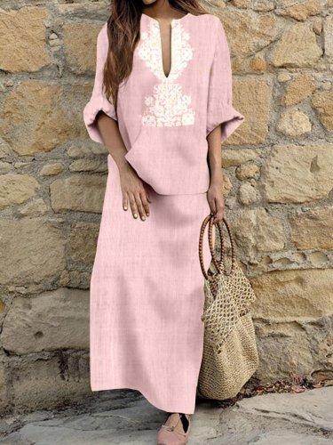 Woman Cotton Linen Long Sleeve Solid Loose V Neck Boho Long Dress Casual Dress Maxi Dress