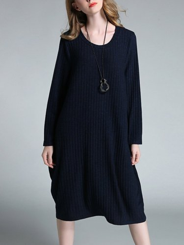 Round Neck Long Sleeve Woman Plain Daily Casual Shift Dress
