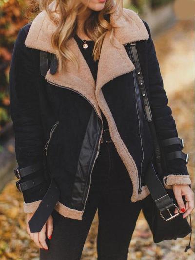Faux Fur Collar Lapel  Zipper  Plain Jackets