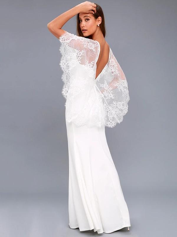 Lace Cape V-back Evening Dress