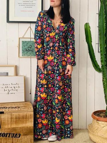 Loose v-neck long sleeve printed maxi dresses