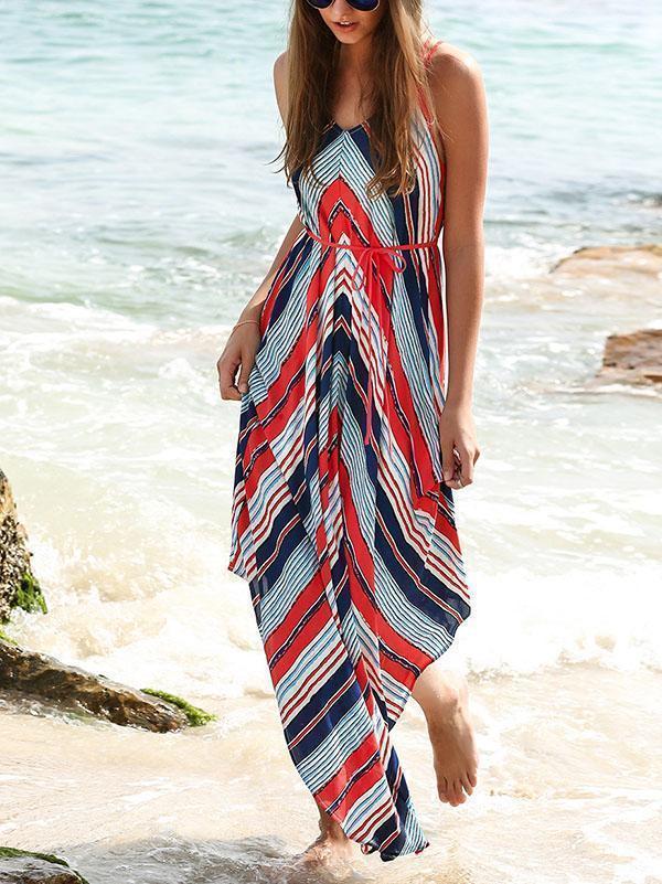 Asymmetric Printed Sleeveless Maxi Dress