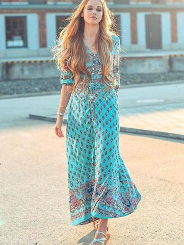 Autumn Bohemia Floral Maxi Dresses