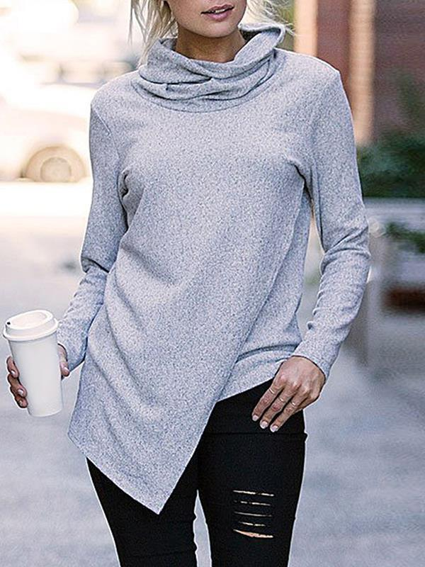 Plain daily high neck long sleeve T-shirts