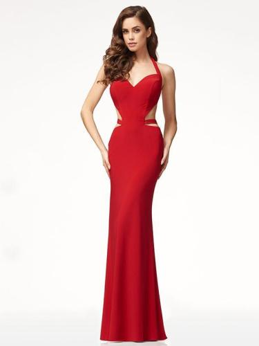 Red Backless Halterneck Evening Dress