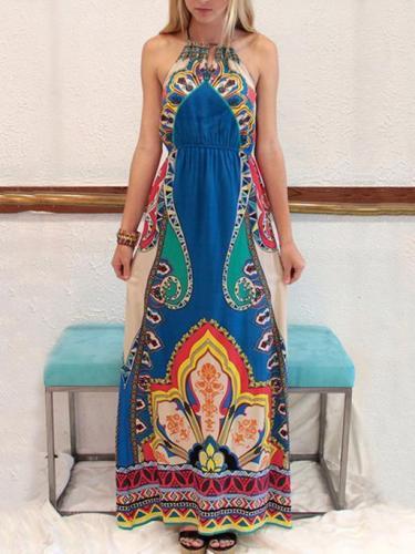 Printed Halterneck Backless Maxi Dress