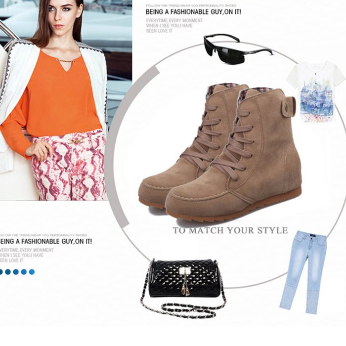 Woman Autumn Casual Tie High Leg Boots Increased Within Shoes