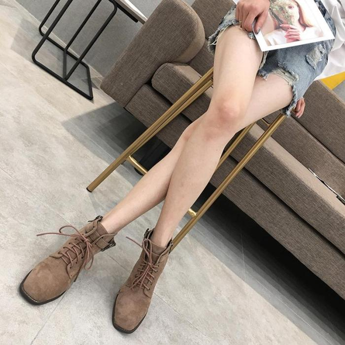 New Comfort Round Toe Med Chunky Heel  Martin Boots