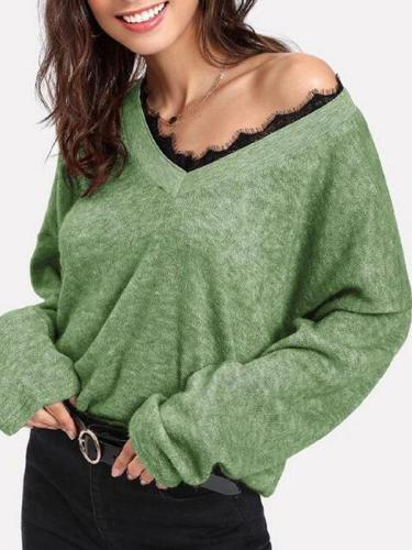 Woman V Neck Lace Patchwork Long Sleeve Knitting Sweaters