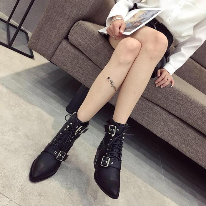 New Fashion Buckle Chunky Heel  Matin Boots