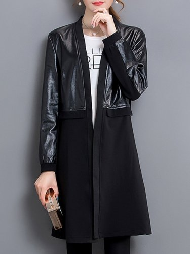 Collarless Patchwork Plain Trench Coat