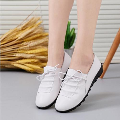 Women Cross Lace Up Casual Non-Slip Peas Shoes Flat&Loafers