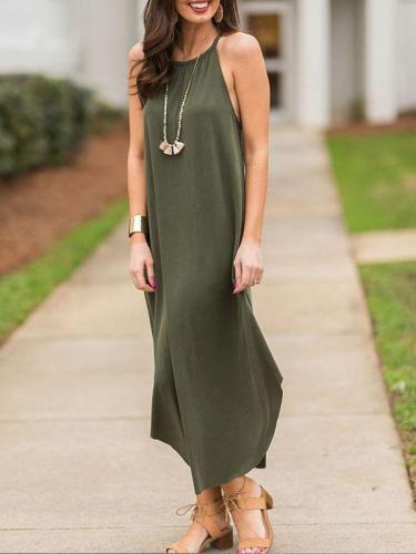 Women Sext Halter Sleeveless Sling Maxi Dress