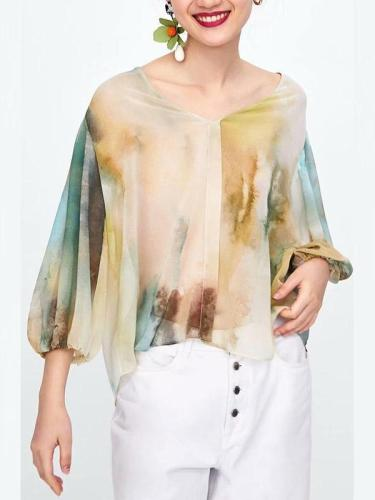 Fashion Loose Watercolor Floral Printed Blouse