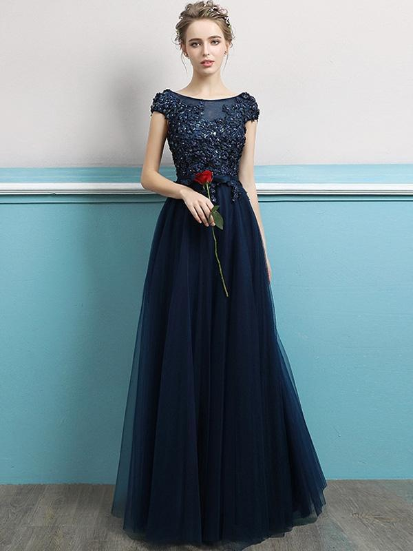 Embroidery Sequined Solid Color Sleeveless Tulle Stitching Prom Dresses