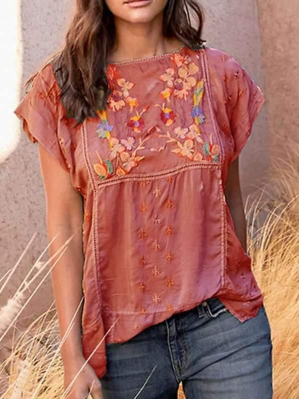 Bohemia Plain round neck Embroidered t-shirts