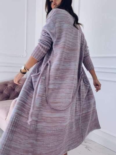 Fashion Long sleeve Knit Pocket Coats