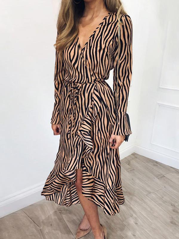 Stripe printed v neck tie waist maxi dresses