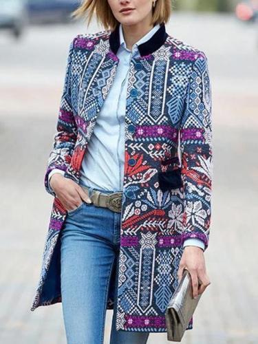 Fashion bohemia printed long sleeve coats