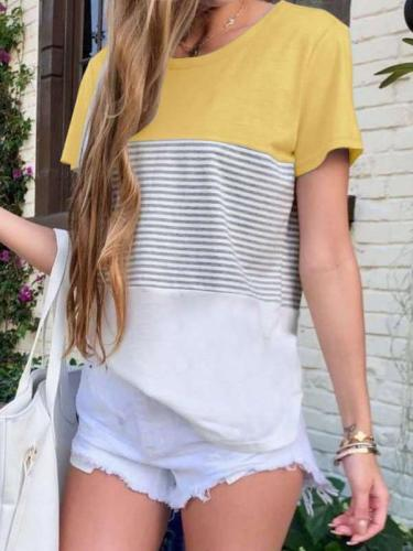 Fashion Round neck Stripe Gored Short sleeve T-Shirts