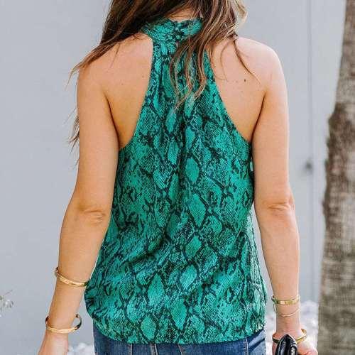 Fashion Print Halter Sleeveless Vests