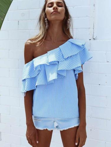 Sexy Off shoulder Stripe Irregular Blouses