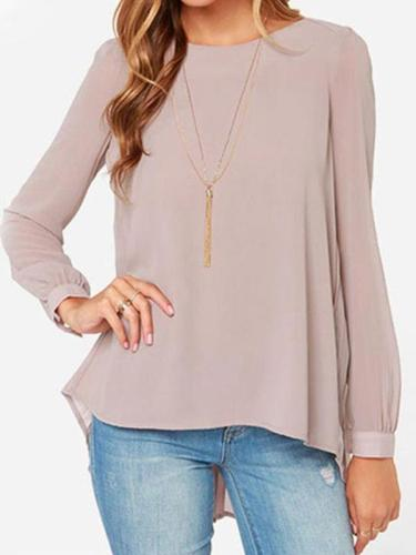 Solid color round collar loose long sleeve chiffon T-shirts