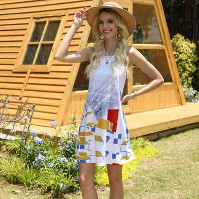 Fashion Print Round neck Sleeveless Shift Dresses