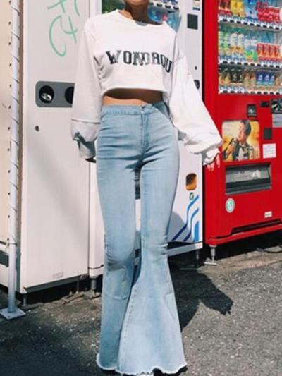 Solid color slim sexy high waist big horn trousers pants jeans
