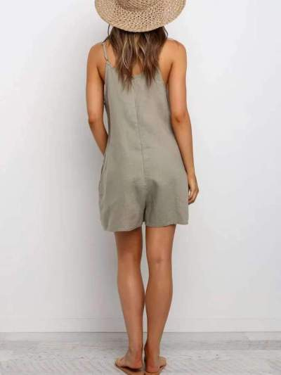Casual Pure Round neck Vest Short Jumpsuits