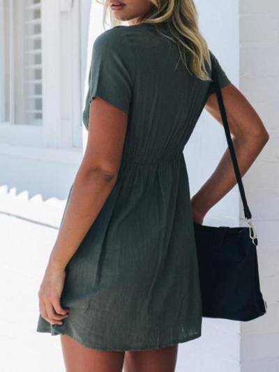 Sexy v-neck short sleeve button Skater Dresses