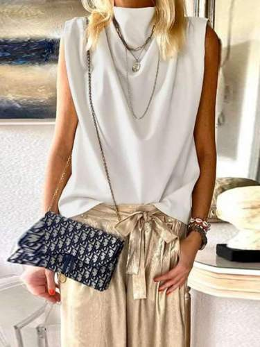 Sleeveless solid stand-up collar T-shirts Vests