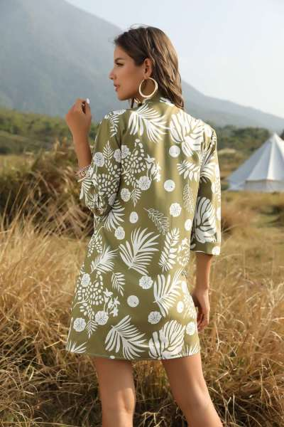 Fashion Print long sleeve Blouses Overall