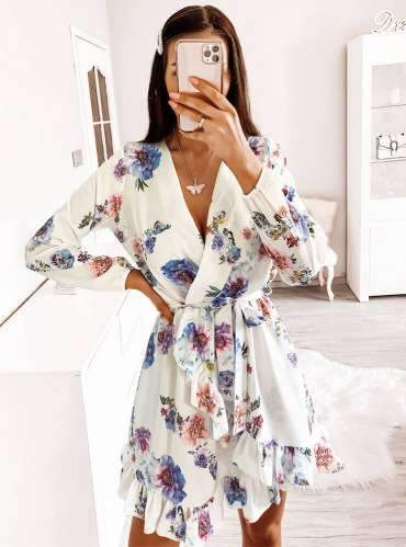 Fashion Print V neck Long sleeve Falbala Skater Dresses