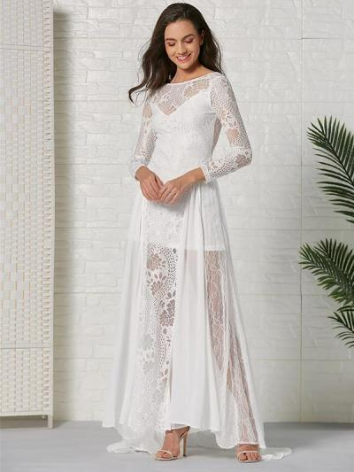 Elegant Lace White Wome Long Sleeve Backless Evening Dresses