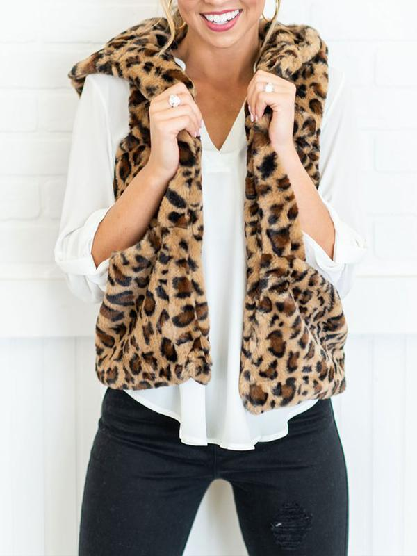 Hooded Daily Woman Leopard Print Vests
