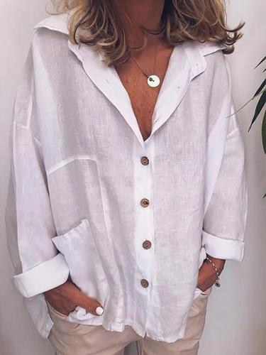 Turn down long sleeve button Blouses