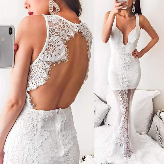 Sexy Lace V neck Backless Grenadine Fishtail Evening Dresses