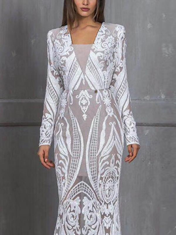 Women Sexy lace two pieces v neck long sleeve evening dresses