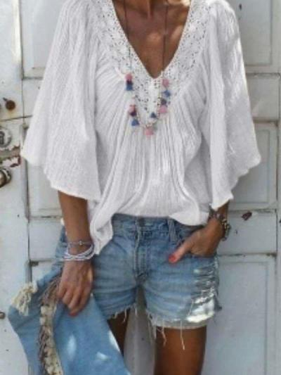 Casual Loose V neck Hollow out Pure Half sleeve Blouses