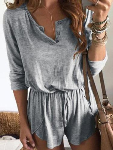 Women casual round neck button short sleeve jumpsuits