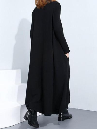 Warm High Neck long sleeve long maxi dresses