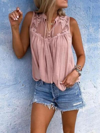 Pleated sleeveless collared lace v-neck sleeveless blouses