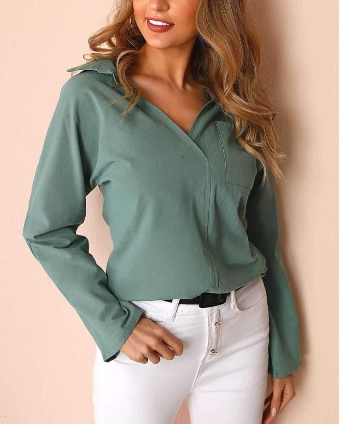 Fashion Pure V neck Long sleeve Pocket Blouses