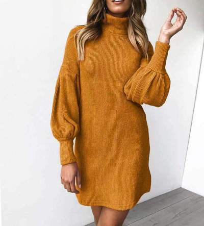 Fashion Pure Knit Puff sleeve High collar Shift Dresses